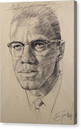 Canvas Print featuring the drawing Malcolm X by Cliff Spohn