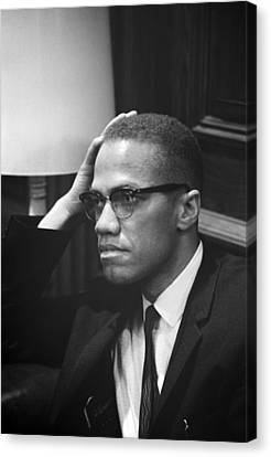 Malcolm X, Malcolm X Waits At Martin Canvas Print by Everett