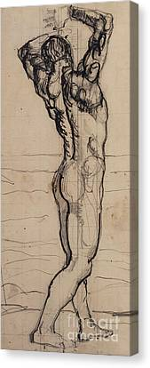 Male Act   Study For The Truth Canvas Print by Ferdninand Hodler