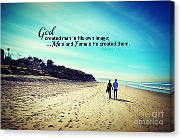 Male And Female He Created Them Canvas Print by Sharon Soberon