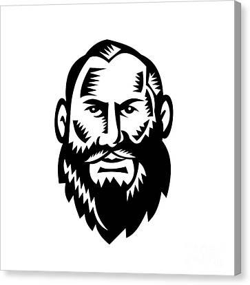 Male Big Beard Woodcut Canvas Print by Aloysius Patrimonio