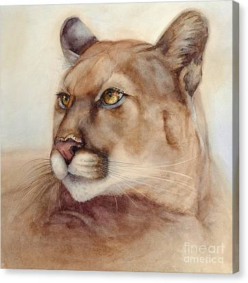 Canvas Print featuring the painting Male Cougar by Bonnie Rinier