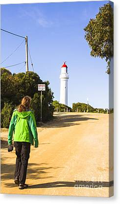 Male Explorer Sightseeing Lighthouse  Canvas Print