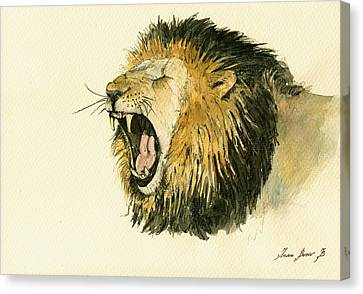 African Drawings Canvas Print - Male Lion Head Painting by Juan  Bosco