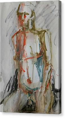 Canvas Print featuring the drawing Male Nude 2 by Jim Vance