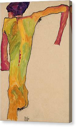 Expressionism Canvas Print - Male Nude, Propping Himself Up by Egon Schiele