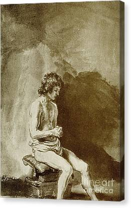 Male Nude Canvas Print by Rembrandt Harmensz van Rijn