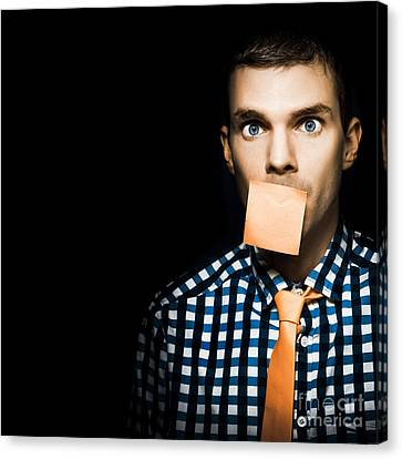 Sticky Note Canvas Print - Male Office Worker With Blank Orange Sticky Note by Jorgo Photography - Wall Art Gallery