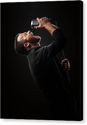 Performers Canvas Print - Male Singer Singing In Mic by Johan Swanepoel