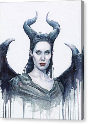 Maleficent Watercolor Portrait Canvas Print by Olga Shvartsur