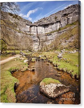 Malham Cove And Malham Beck, Yorkshire Dales National Park Canvas Print