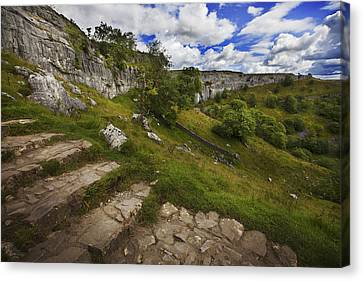 Canvas Print featuring the photograph Malham Cove, Yorkshire, Uk by Richard Wiggins