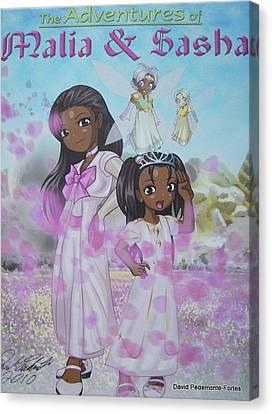 Malia And Sasha Canvas Print by Artists With Autism Inc