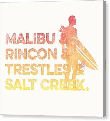 Malibu And Rincon And Trestles And Salt Creek 2 Canvas Print