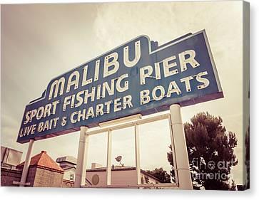 Malibu Sign Sport Fishing Pier Picture Canvas Print
