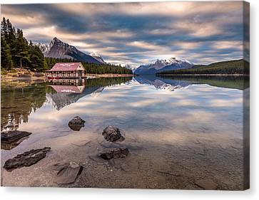 Canvas Print featuring the photograph Maligne Lake Boat House Sunrise by Pierre Leclerc Photography