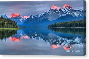 Maligne Pink Tips Canvas Print