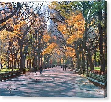Mall Central Park New York City Canvas Print by George Zucconi