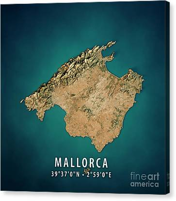Mallorca Island 3d Render Satellite View Topographic Map Canvas Print
