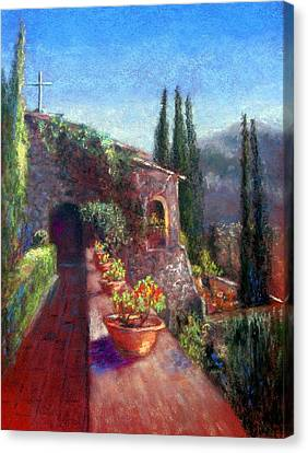 Mallorcan Monastery Canvas Print by Shirley Leswick