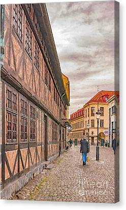 Malmo Narrow Street Painting Canvas Print by Antony McAulay