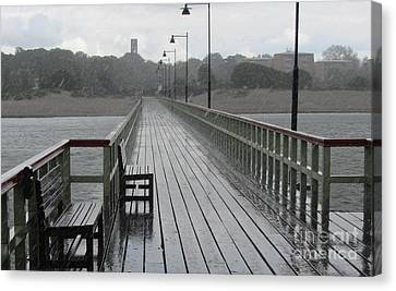 Malmo Pier In A Rain Storm Canvas Print by Jackie Tweddle