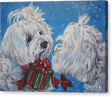 Maltese Christmas Canvas Print by Lee Ann Shepard