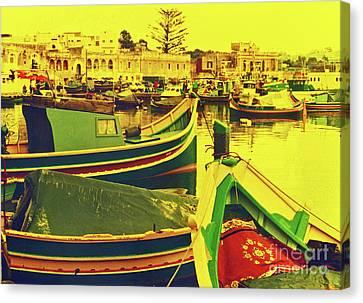 Maltese Fishing Village Canvas Print by Elizabeth Hoskinson