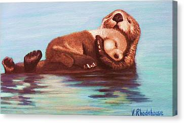 Mama And Baby Otter Canvas Print
