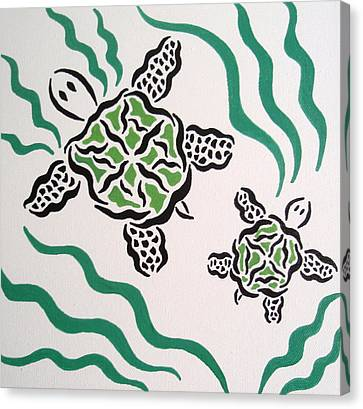 Canvas Print featuring the painting Mama And Baby Sea Turtle by Beth Akerman