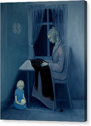 Canvas Print featuring the painting Mama Knitting Big Sister Home by Tone Aanderaa