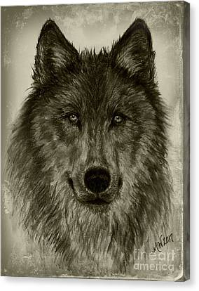 Mama Wolf Vintage Canvas Print by Michelle Wolff