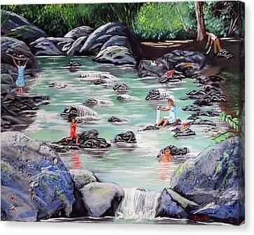 Mami Lavando Ropa Canvas Print