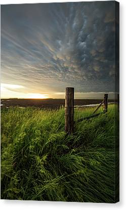 Canvas Print featuring the photograph Mammatus Sunset by Aaron J Groen