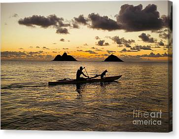 Man And Dog In Canoe Canvas Print by Dana Edmunds - Printscapes