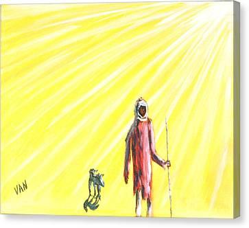 Man And Dog Canvas Print