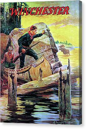 Man And Guide In Canoe Canvas Print by R Farrington Elwell