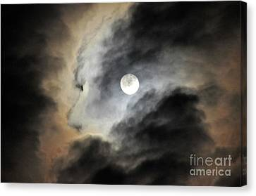 Canvas Print featuring the photograph Man And Moon by Cindy Lee Longhini