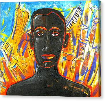 Man And The City Canvas Print by Rollin Kocsis