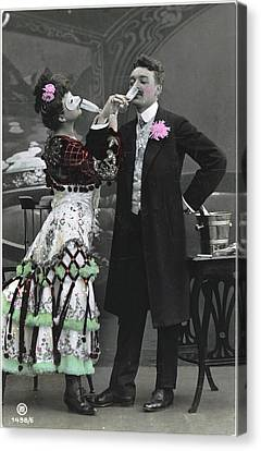 Man And Woman In Vintage Party Clothes Canvas Print by Gillham Studios