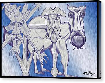 Merging Canvas Print - Man Beasts by Mike Peconge