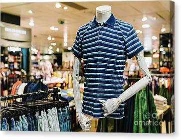 Dressing Room Canvas Print - Man Casual Shirt Closeup On Mannequin In Fashion Store by Radu Bercan