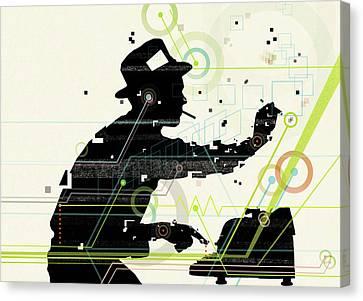 Man Creating Music From Typewriter Canvas Print by Mark Allen Miller