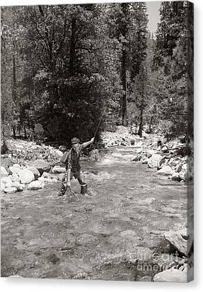 Man Fly Fishing Canvas Print by Pound/ClassicStock