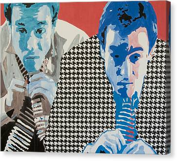 Man In A Houndstooth Suit Canvas Print by Pete Nawara