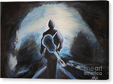 Man In Black Canvas Print by Steven Dopka
