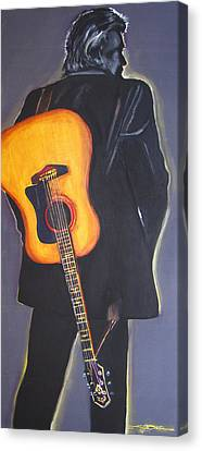 Johnny Cash Canvas Print - Man In Black's Back by Eric Dee
