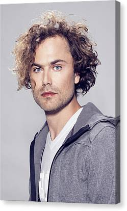 Windbreaker Canvas Print - Man In Blonde Messy Curly Hairstyle by Von Oneil Buenconsejo