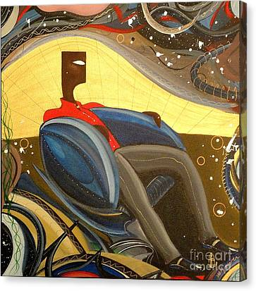 Man In Chair 2 Canvas Print by John Lyes