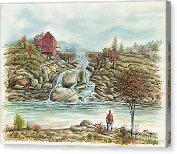 Man In Red Fishing By A Waterfall Canvas Print by Samuel Showman